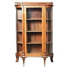 Antique Oak Curved Glass Display Curio China Cabinet Vitrine Bookcase Victorian