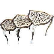 Florentine Italy Papier Mache Gilt Set Nesting Tables Side End Lamp Coffee Sofa
