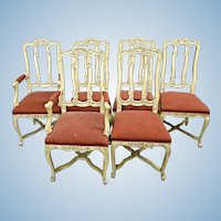 Set 6 Six French Country Provincial Louis XV Style Dining Chairs Side Armchairs