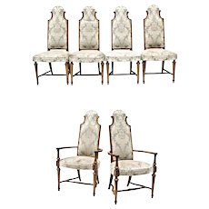 Set Six 6 Oak High Back Upholstered Dining Chairs Side Accent Vintage Antique