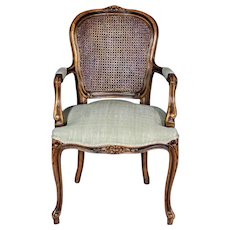Louis XV French Style Upholstered Bergere Chair Armchair Provincial Fauteuil