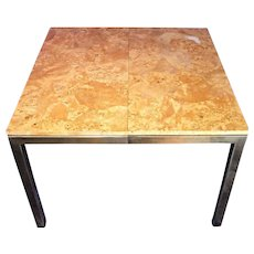 MILO BAUGHMAN Burled Wood Brass Square Dining Center Table Mid Century Modern