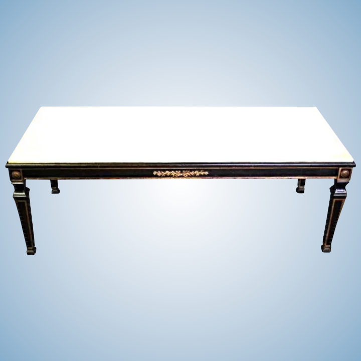 French Neoclassical Marble Top Cocktail Table Coffee Side End