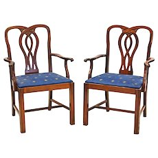 Pair 2 Chippendale Style Mahogany Side Accent Chairs Armchairs Dining Vintage