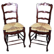 Pair 2 French Country Bar Counter Chairs Stools Rush Seat Side Sofa Child Dining