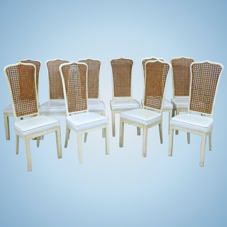 Exceptionnel Set 10 Ten White Lacquer Caned Dining Chairs Side Accent Vintage Shabby Chic