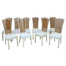 Set 10 Ten White Lacquer Caned Dining Chairs Side Accent Vintage Shabby Chic