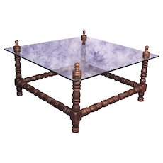 Baroque Turned Wood Glass Top Coffee Cocktail Table Vintage Modern Side Dining
