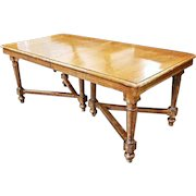 """Solid Oak 98"""" Extension Dining Table 3 Leaves Chairs Breakfront Sideboard"""
