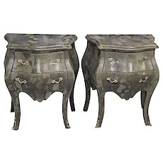 Louis XV Faux Snakeskin Bombe Chests Nightstands Commode Side End Tables Console
