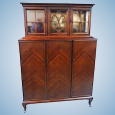 Antique Mahogany Breakfront China Cabinet Cupboard Bookcase Server Chest Vintage