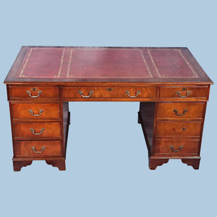 Large Antique English Mahogany Leather