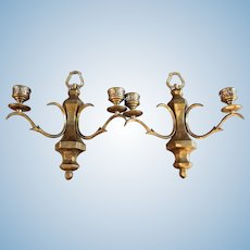 Pair 2 Double Arm Bronze Wall Sconces Candle Holders Brass Vintage Antique