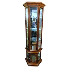 Vintage 3 Sided Narrow Curio Display Cabinet Vitrine China Breakfront Bookcase