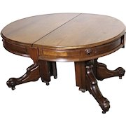Rare 1870 Renaissance Revival 3 Leaves American Dining Table Antique Early Set