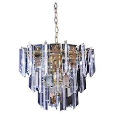 Modern Smoked Glass Mirror Lucite Chandelier Hanging Light Fixture Lamp Shade
