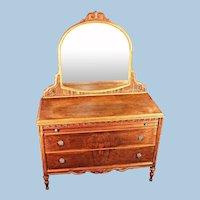 Antique Art Deco Veneered Dresser Mirror Vanity Vintage Chest Set Bedroom Buffet
