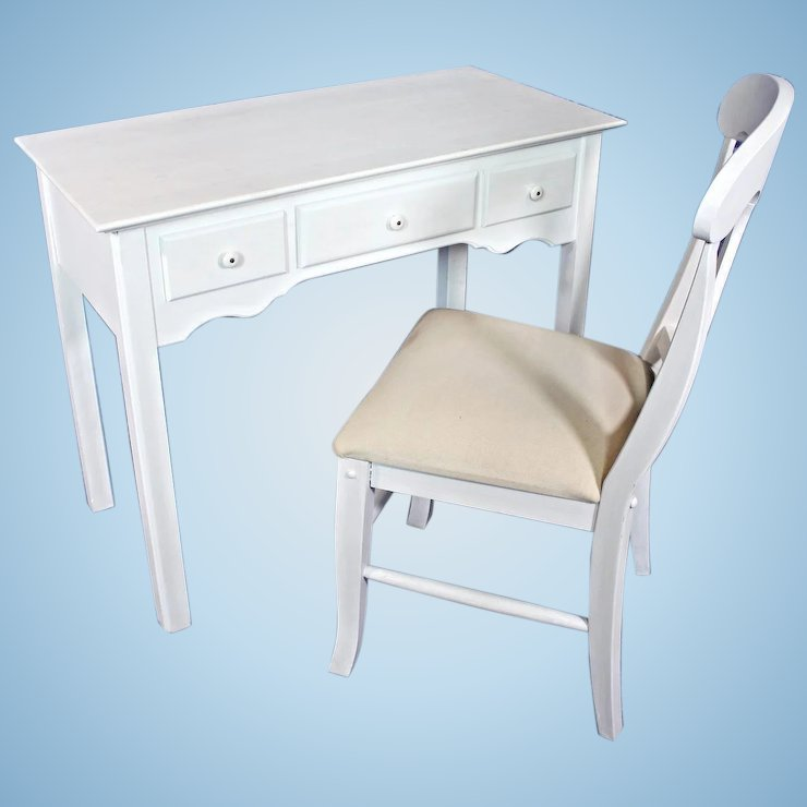 Whittier Furniture White Painted Childrens Set Desk Chair Vanity Vintage Drawers