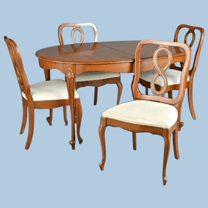 Queen Anne Fruitwood Dining Set Carved