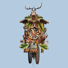 German Black Forest Cuckoo Hunter Clock Painted Carved Wood Vintage Rustic Decor