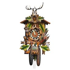 German Black Forest Cuckoo Hunter Clock Painted Carved Wood Vintage Rustic Decor