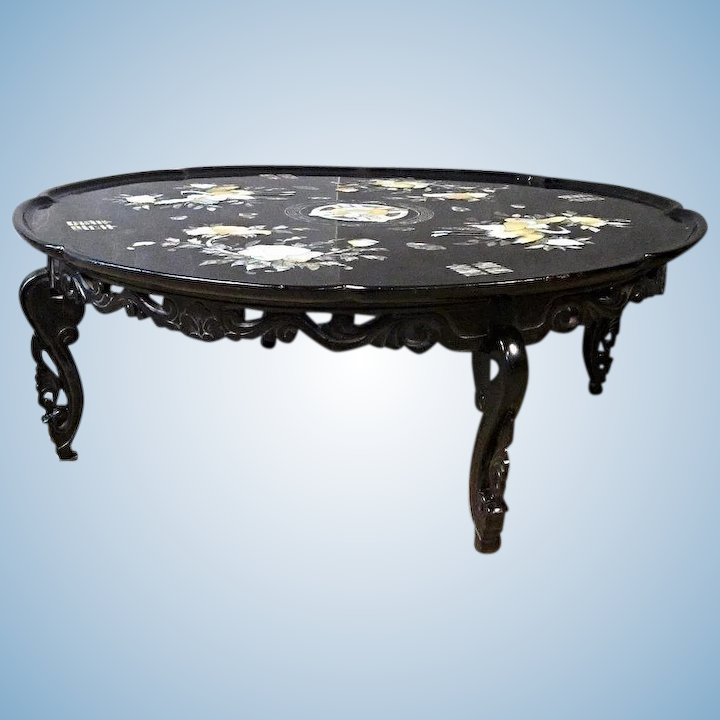Incredible Pearl Inlay Black Lacquered 36D Chinese Folding Low Coffee Table Antique Center Andrewgaddart Wooden Chair Designs For Living Room Andrewgaddartcom