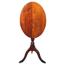 Antique Tilt Top Mahogany Oval Breakfast Table Tea Side Lamp Coffee Pedestal