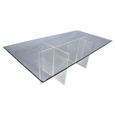 Rare Mid Century Modern Lucite Glass Top Coffee Cocktail Table Low Sofa Side End