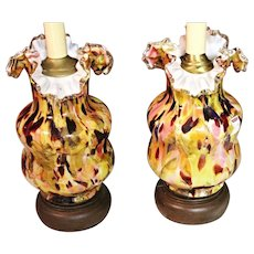 Frank Boos - Pair 2 Bohemian Art Glass Antique Lamps Vase Victorian End Of Day