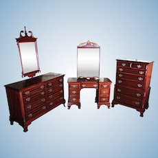 Chippendale Mahogany Bedroom Set Chest Dresser Mirror Bed Wardrobe Sideboard