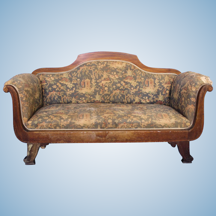 Surprising Rare Early Antique Victorian Chinoserie Loveseat Settee Sofa Bench Chaise Chair Machost Co Dining Chair Design Ideas Machostcouk