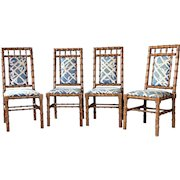 Four 4 Faux Bamboo ECKER-SHANE Dining Side Chairs Mid Century Modern Table Set