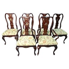 Set 6 Six Queen Anne Style Chinoserie Dining Chairs Set Side Armchair Vintage