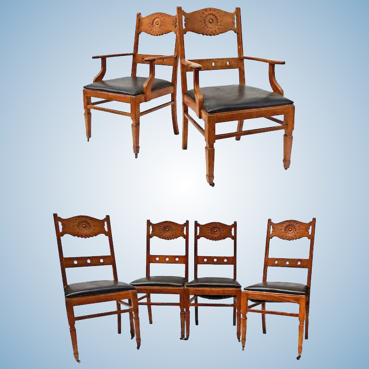Terrific Set Six 6 Franco Scerbo Art Deco Oak Dining Chairs Side Armchair Vintage Antique Caraccident5 Cool Chair Designs And Ideas Caraccident5Info