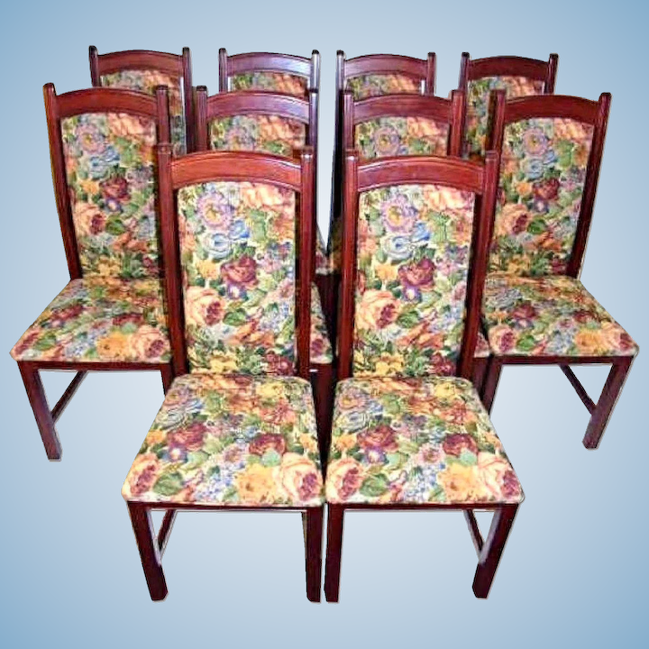Pleasant Set 10 Ten Tapestry Upholstered Side Dining Chairs Accent Vintage Set Table Sofa Caraccident5 Cool Chair Designs And Ideas Caraccident5Info