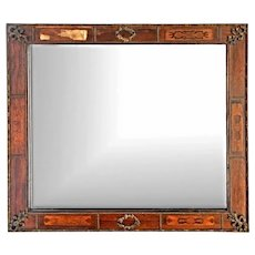 Rare Early Antique Bronze Mounts Marquetry Fruitwood Wall Mirror Home Decor