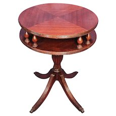 Antique Mahogany Drum Lamp Side End Table Magazine Center Coffee Dining Vintage
