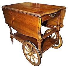 Antique Drop Leaf Table Cart Tray Tea Bar Liquor Server Console End Side Vintage