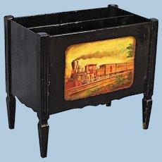 Rare Antique Canterbury Magazine Holder Rack Vintage Painting Sofa Side Table