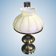 Oil Style Brass Base Milk Glass Shade Table Lamp Vintage Antique