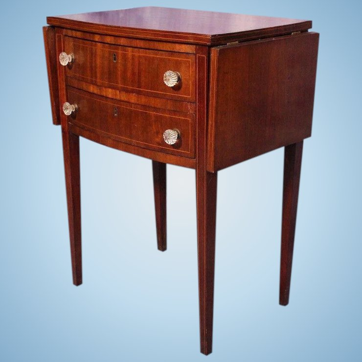 Antique 19th C Drop Leaf Mahogany End Table Side Gl Pulls Nightstand Server