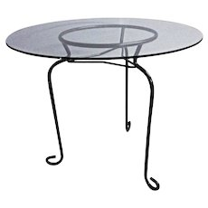 Glass Top Round Side Table Cocktail Coffee Stand Lamp Mid Century Modern Vintage