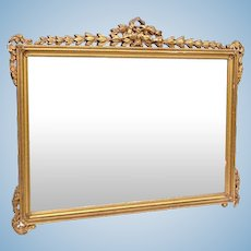 "1900's Antique Neoclassical Gold Gilt Wood Rectangular Mirror 23""X30"" Vintage"