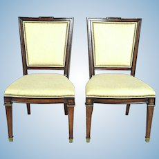Pair 2 Large Neoclassical Fruitwood Side Chairs Armchair Settee Sofa Chaise
