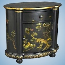 Chinoiserie Black Hand Painted Carved Buffet Cabinet Sideboard Chinese Vintage