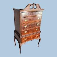 Antique Mahogany Queen Anne Highboy Chest Drawers Wardrobe Buffet Dresser Server