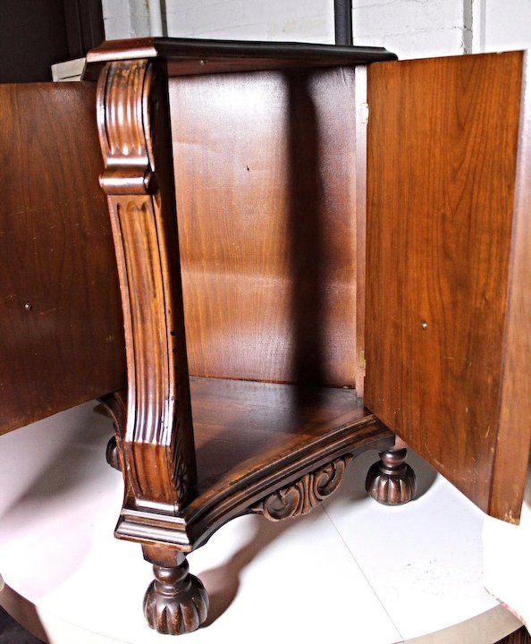 Fancy Triangular Cabinet Commode Nightstand End Side Table Antique Vintage