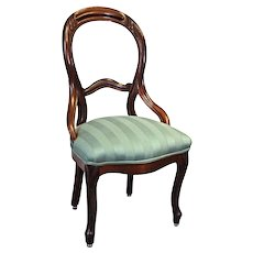 19th C Antique Bustle Back American Victorian Accent Side Vanity Chair Parlor