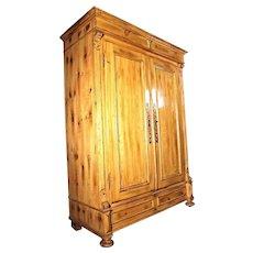 19 C Antique Pine Provincial Country Armoire Wardrobe Cupboard Bookcase Cabinet