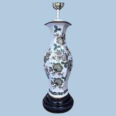 Asian Style Porcelain Green White Painted Vase Table Lamp Vintage Modern Light